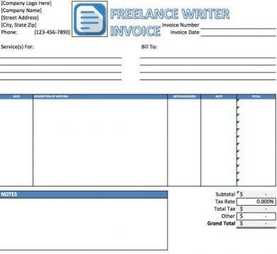 blue freelance writer invoice sample