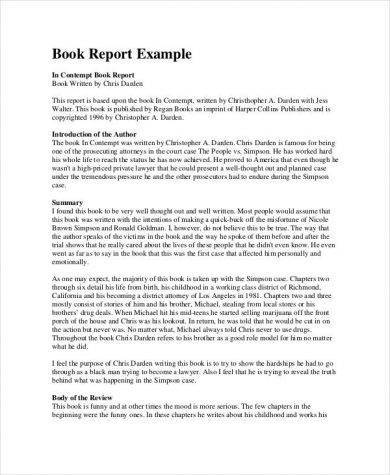 book report writing format exampl