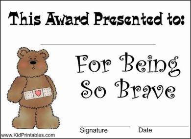 bravery award certificate for kids example1