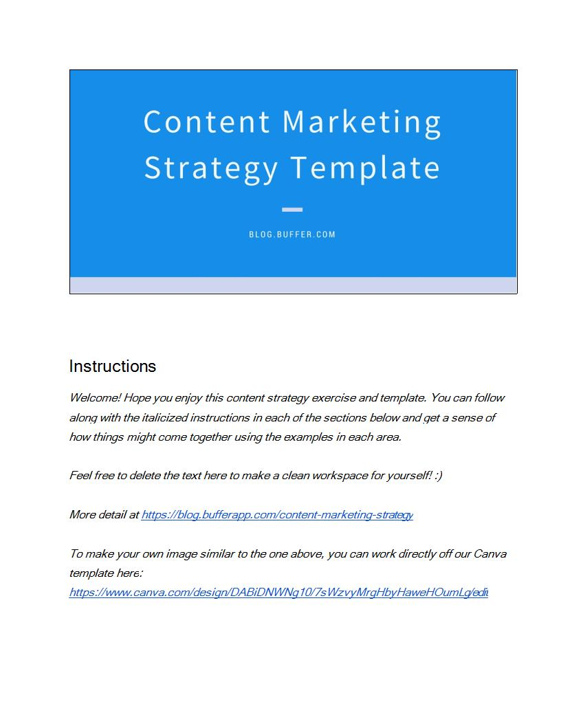 buffers content marketing strategy template example