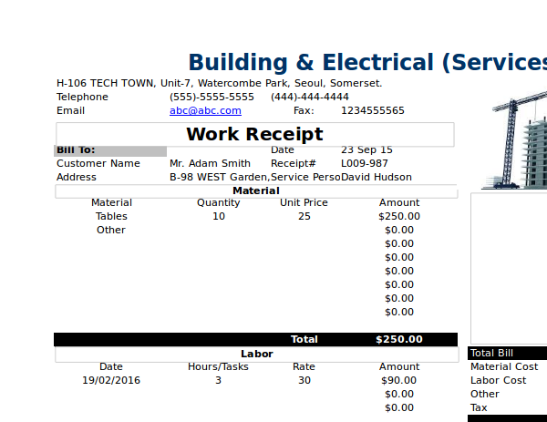 building work receipt example