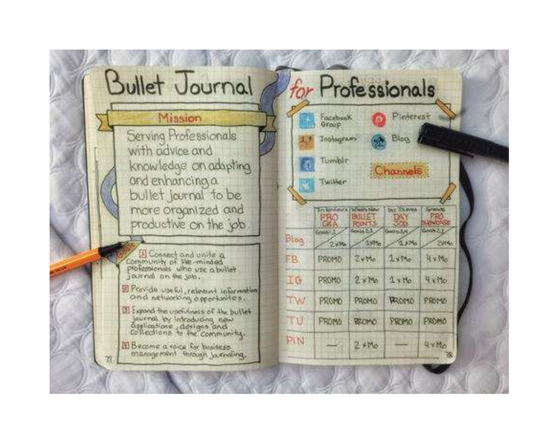 bullet journal example for professionals