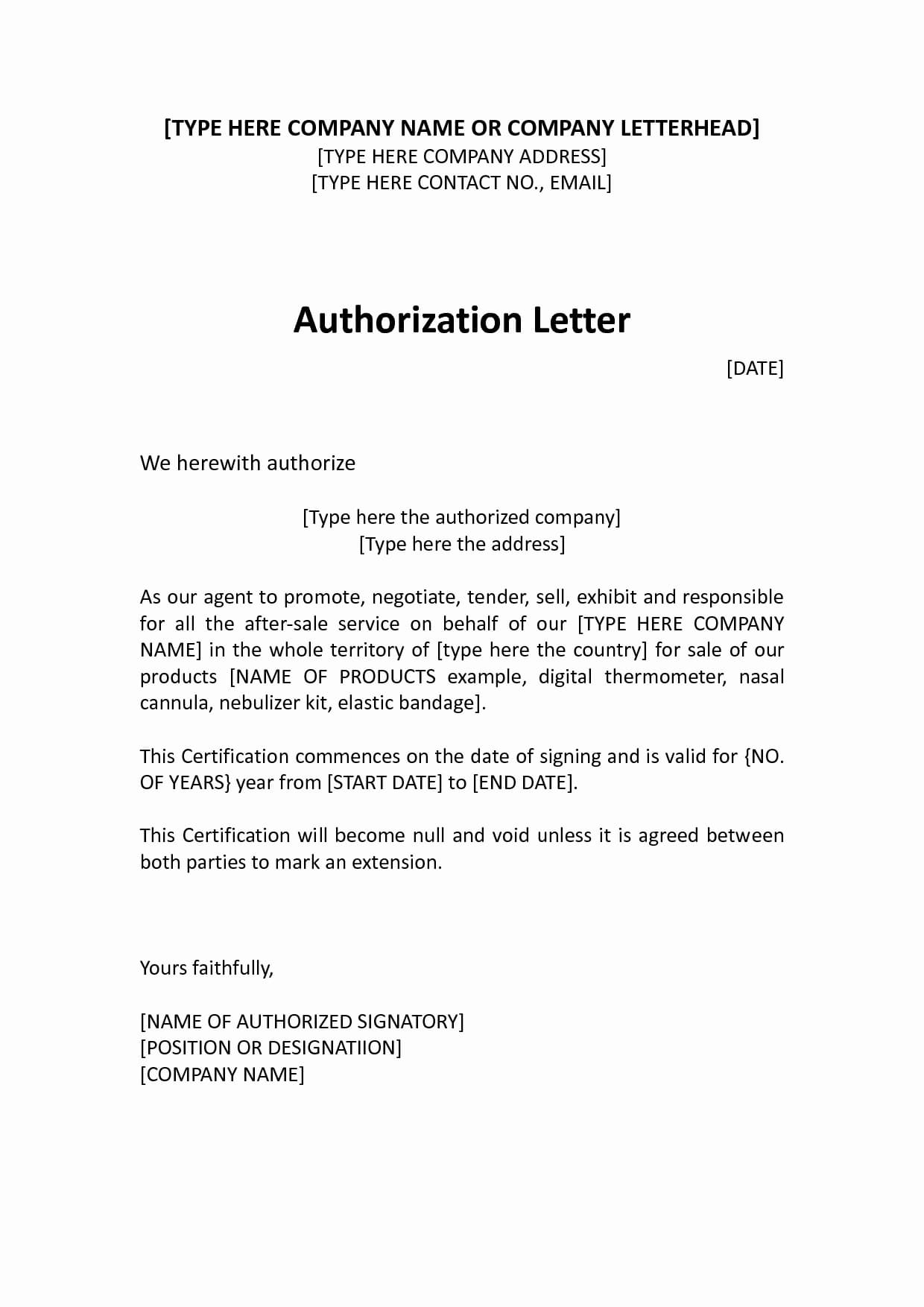 9 Letter Of Authorization To Represent Examples Pdf