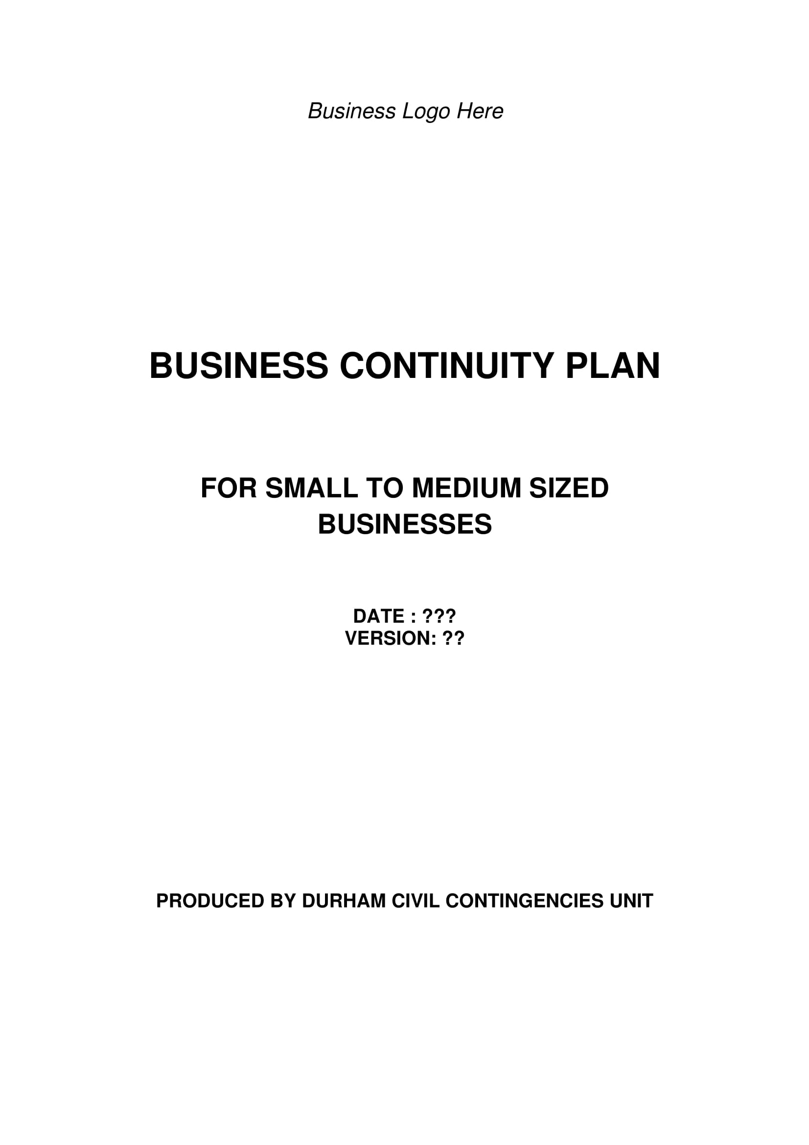 business continuity plan for small to medium sized businesses example 01