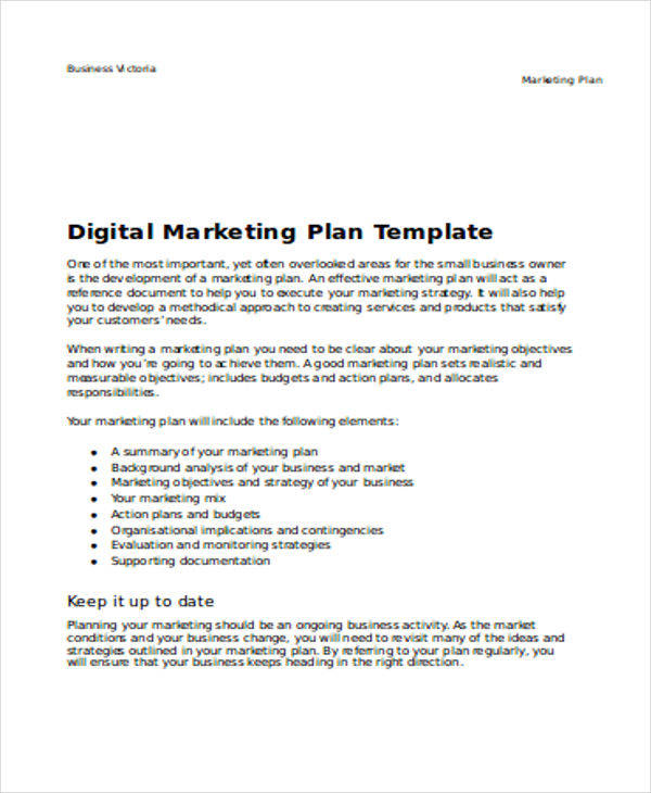 business digital marketing plan example