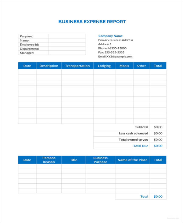 24 business report examples pdf doc business expense report template friedricerecipe Choice Image