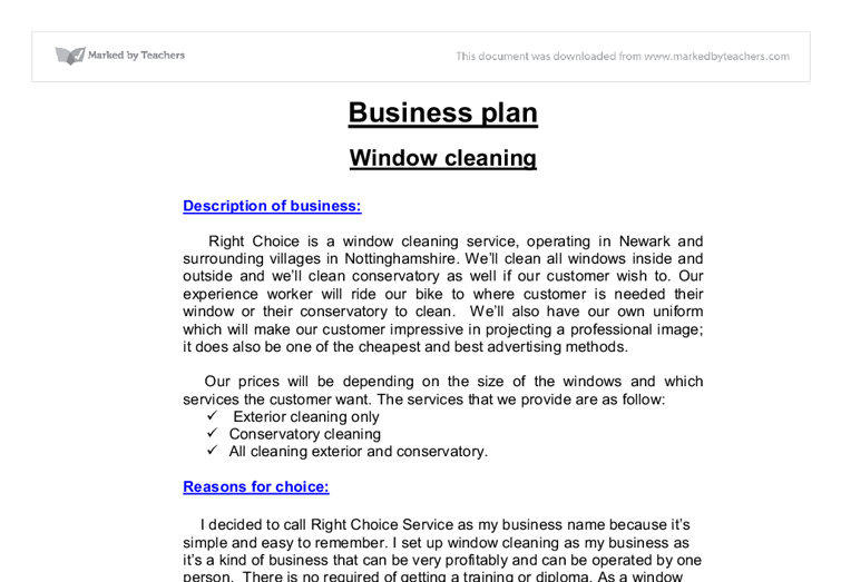 business plan for window cleaning