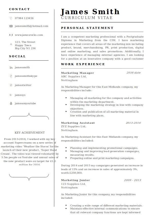 cv new template example