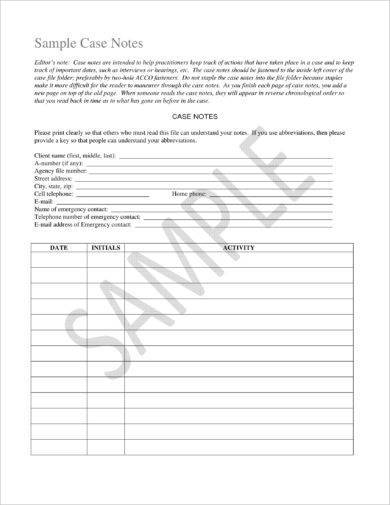 case note template example1