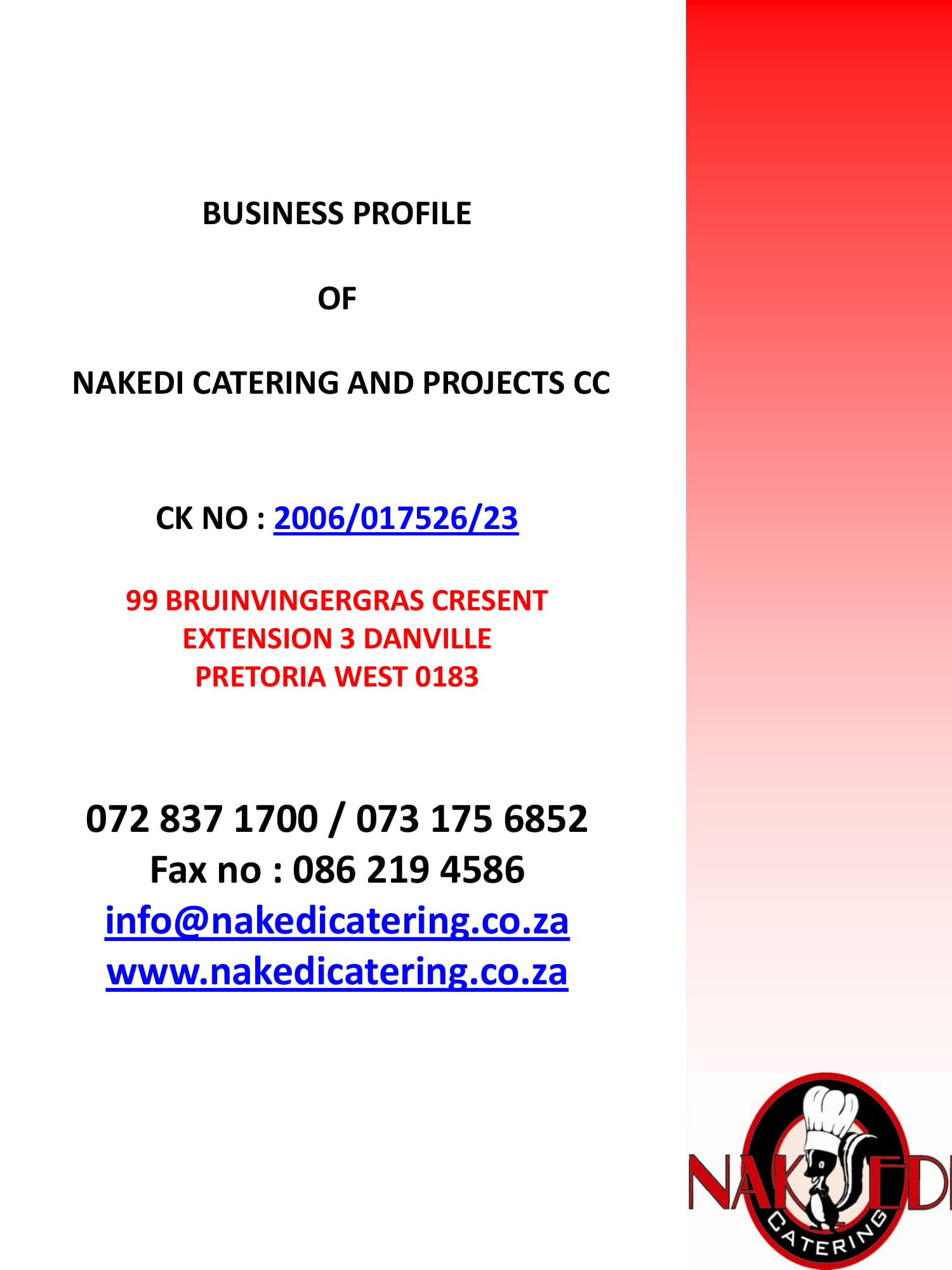 catering company business profile plan example