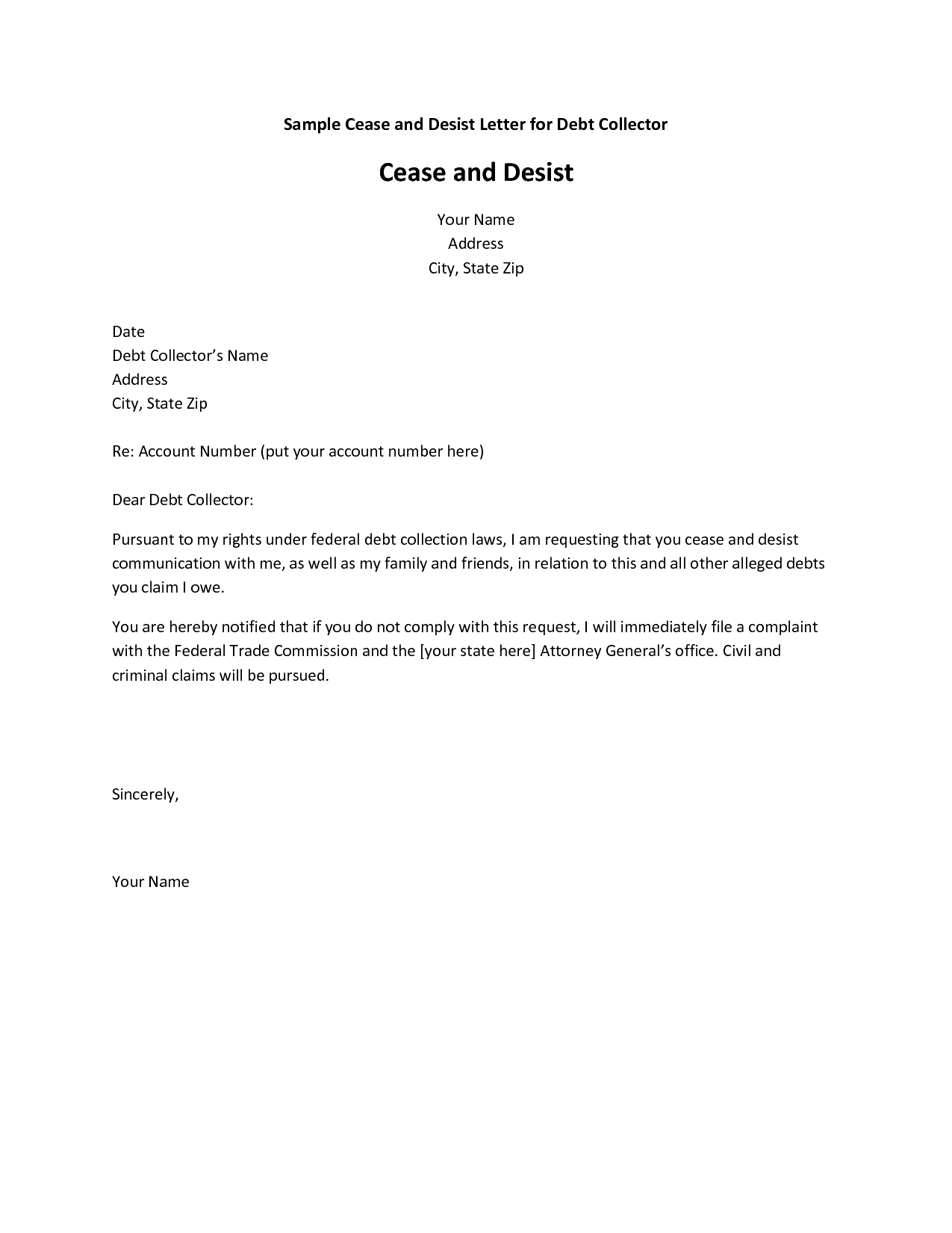 cease and desist letter for debt collector