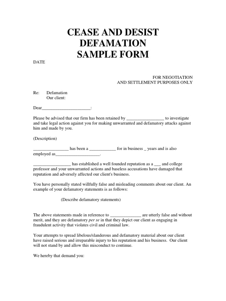cease and desist letter for defamation