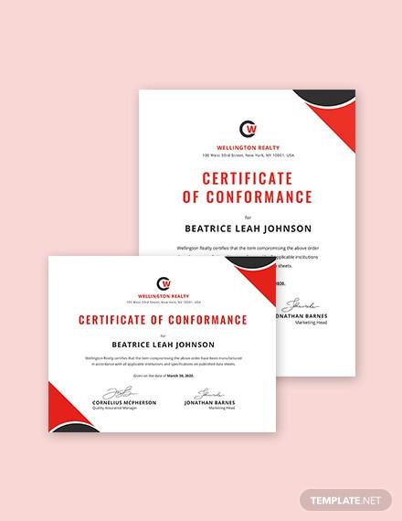 certificate of conformance template