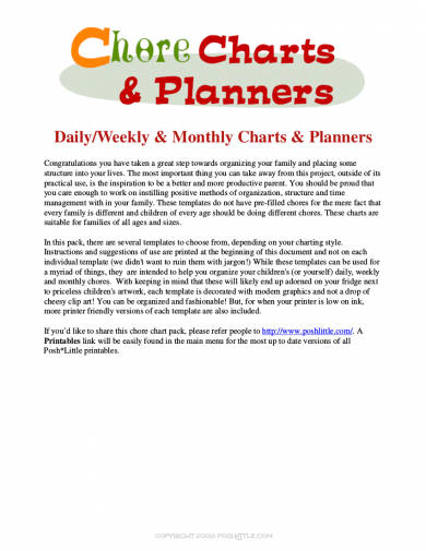chore chart and planners example