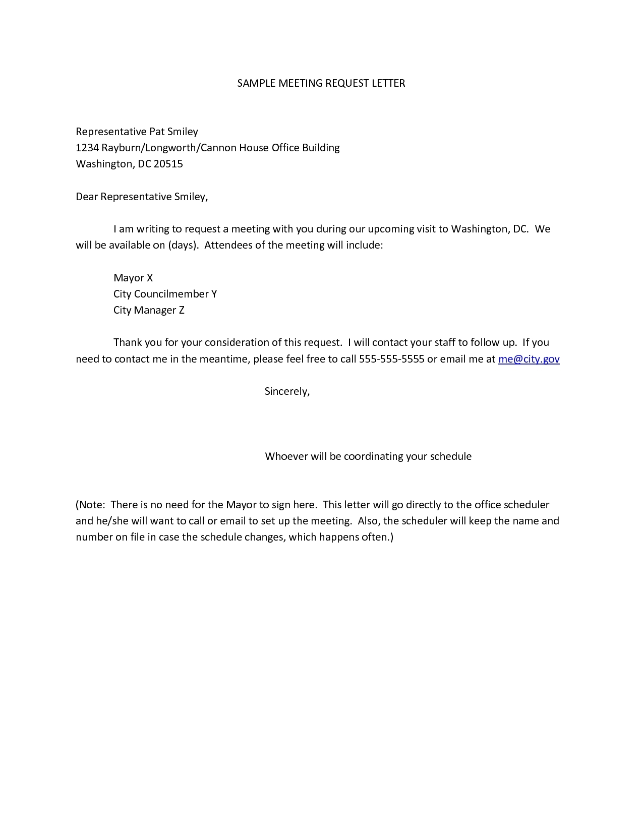 Sample of business meeting letter.