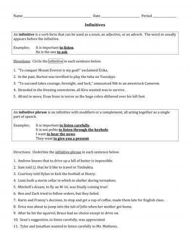 9+ Infinitive Phrase Worksheets and Examples - PDF | Examples