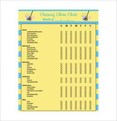 cleaning chore chart example