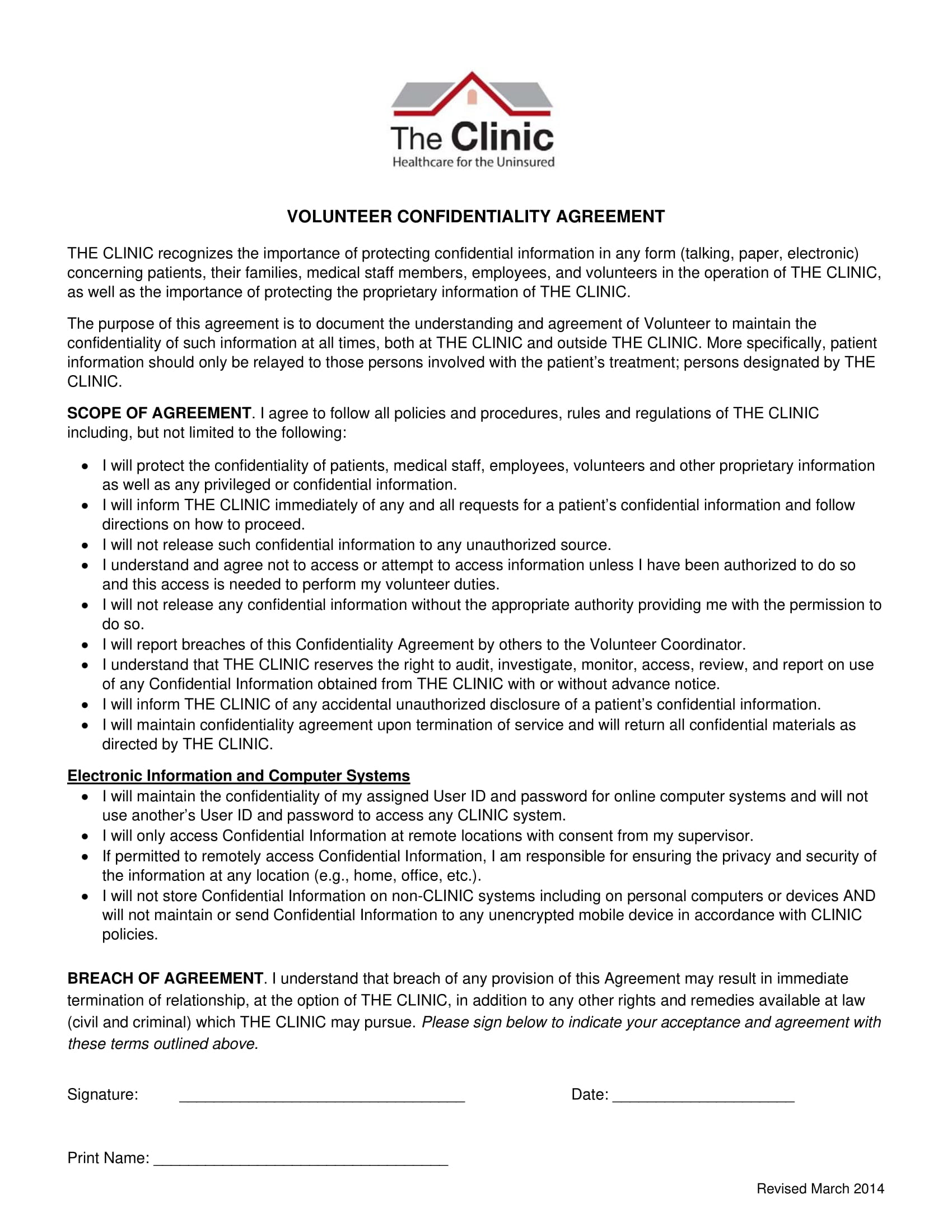 clinic volunteer confidentiality agreement example