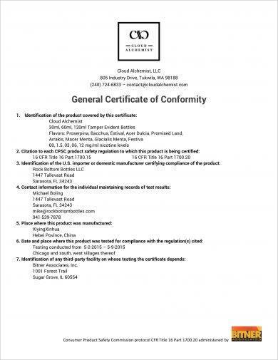 cloud alchemist general certificate of conformity example1