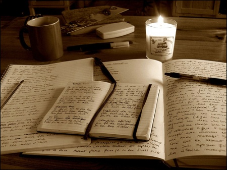 coffee candlelight and notebook