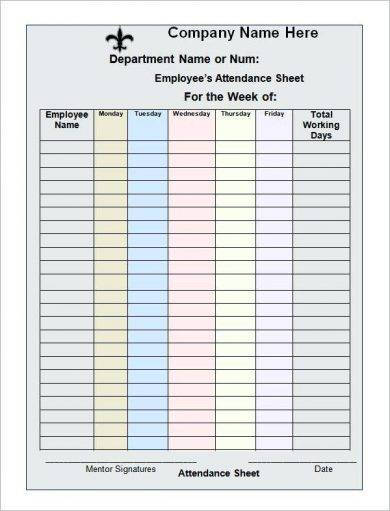 8 Work Attendance Register Examples Pdf Examples