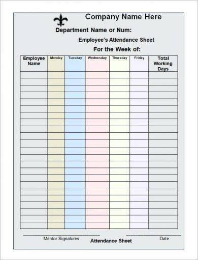 8 work attendance register examples pdf
