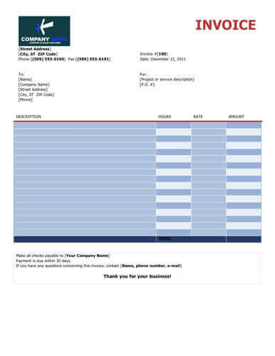 colorful free invoice hourly
