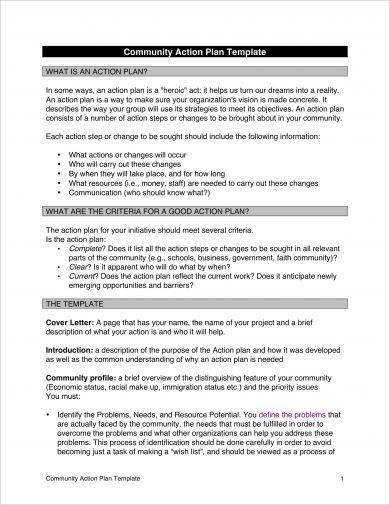 community action plan template example