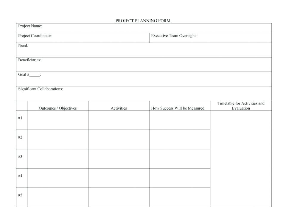 community project plan form example