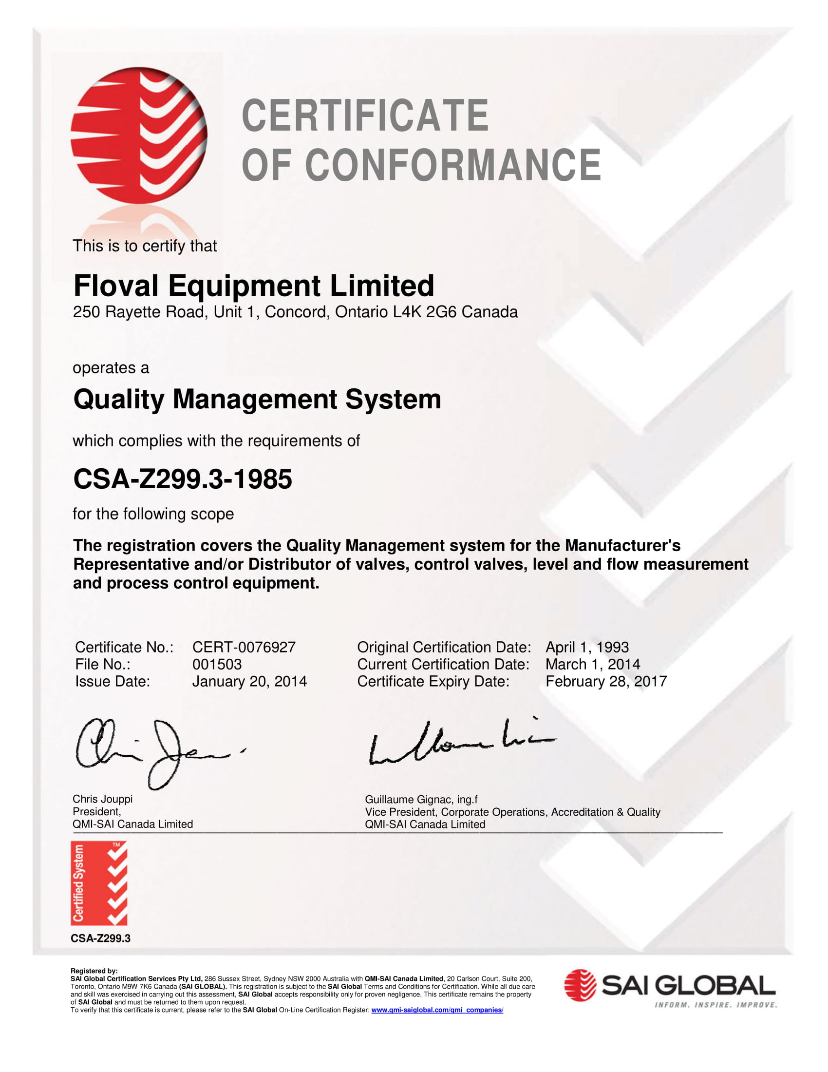 company certificate of conformance example
