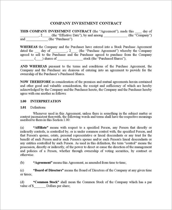 company investment agreement example