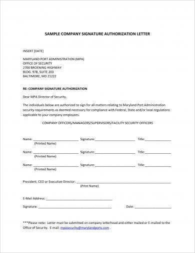 company signature authorization letter example