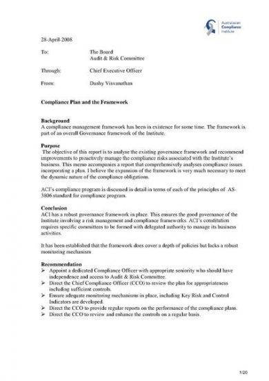 compliance framework memo1