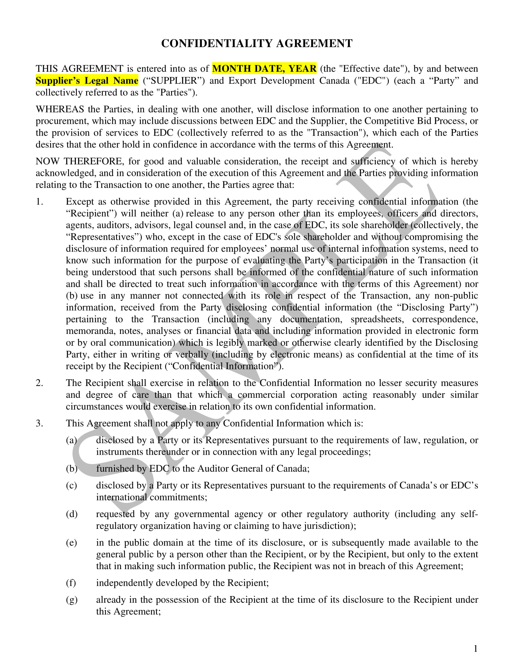 comprehensive audit confidentiality agreement example