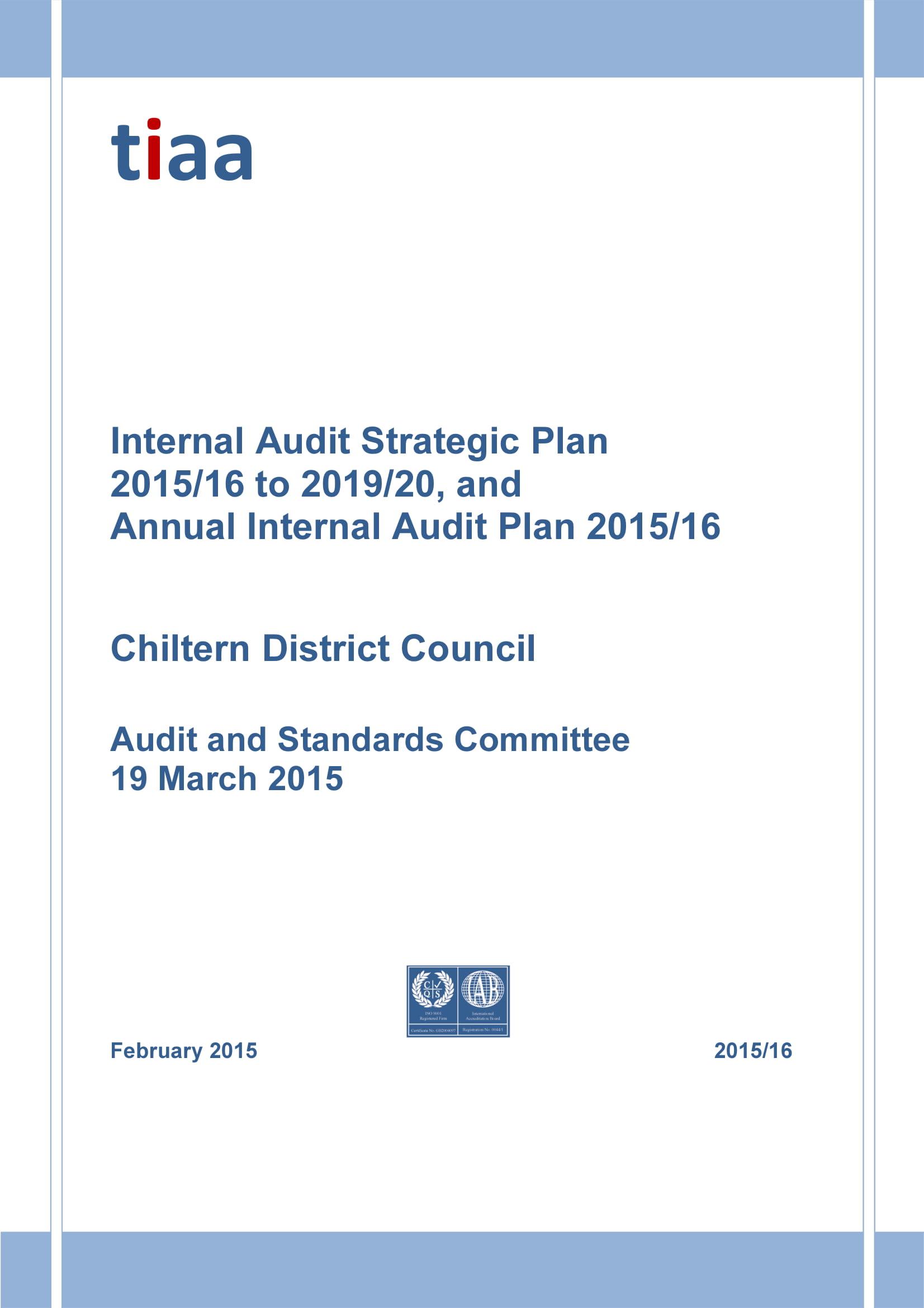 comprehensive internal audit strategic plan example