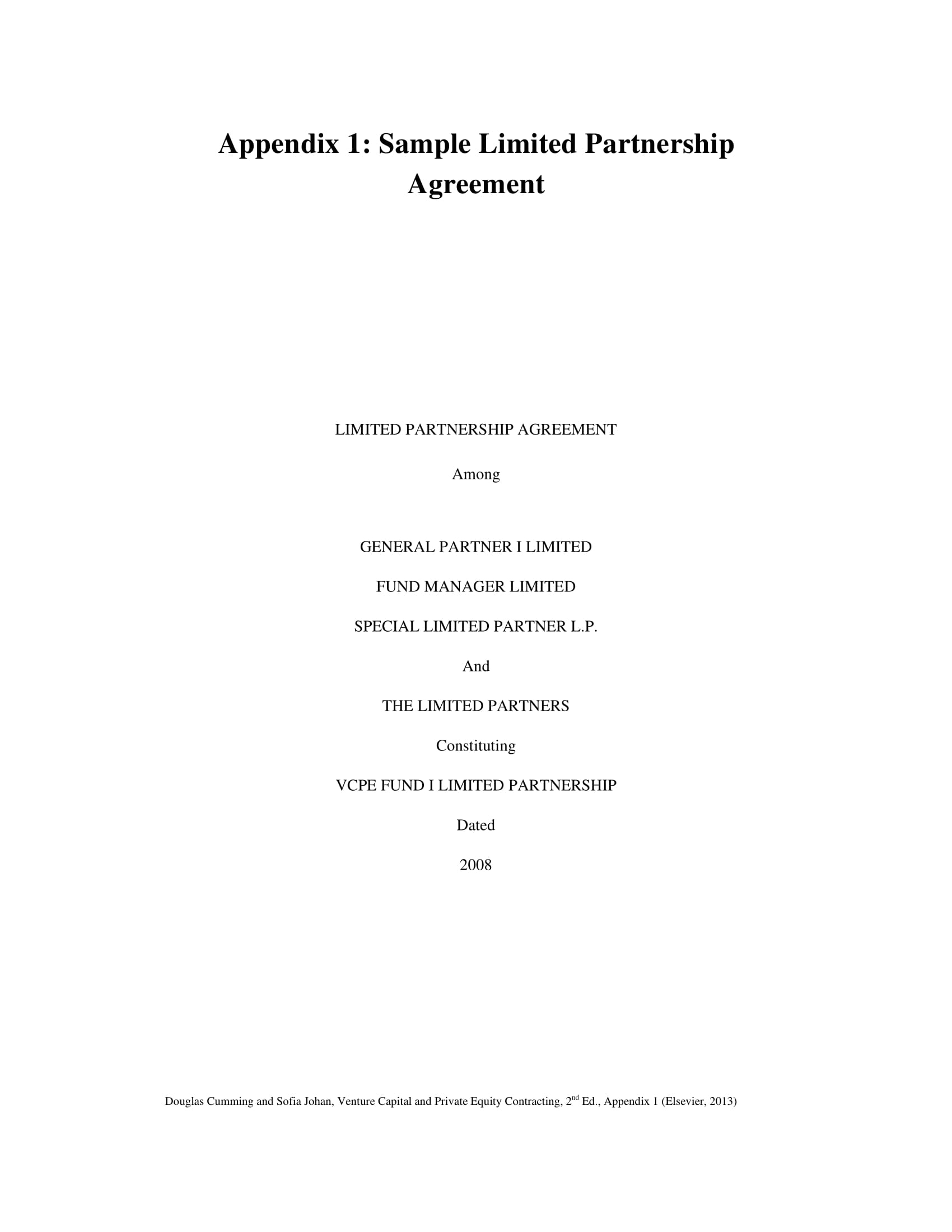 comprehensive partnership investment agreement example