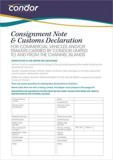 condor consignment note and customs declaration example1