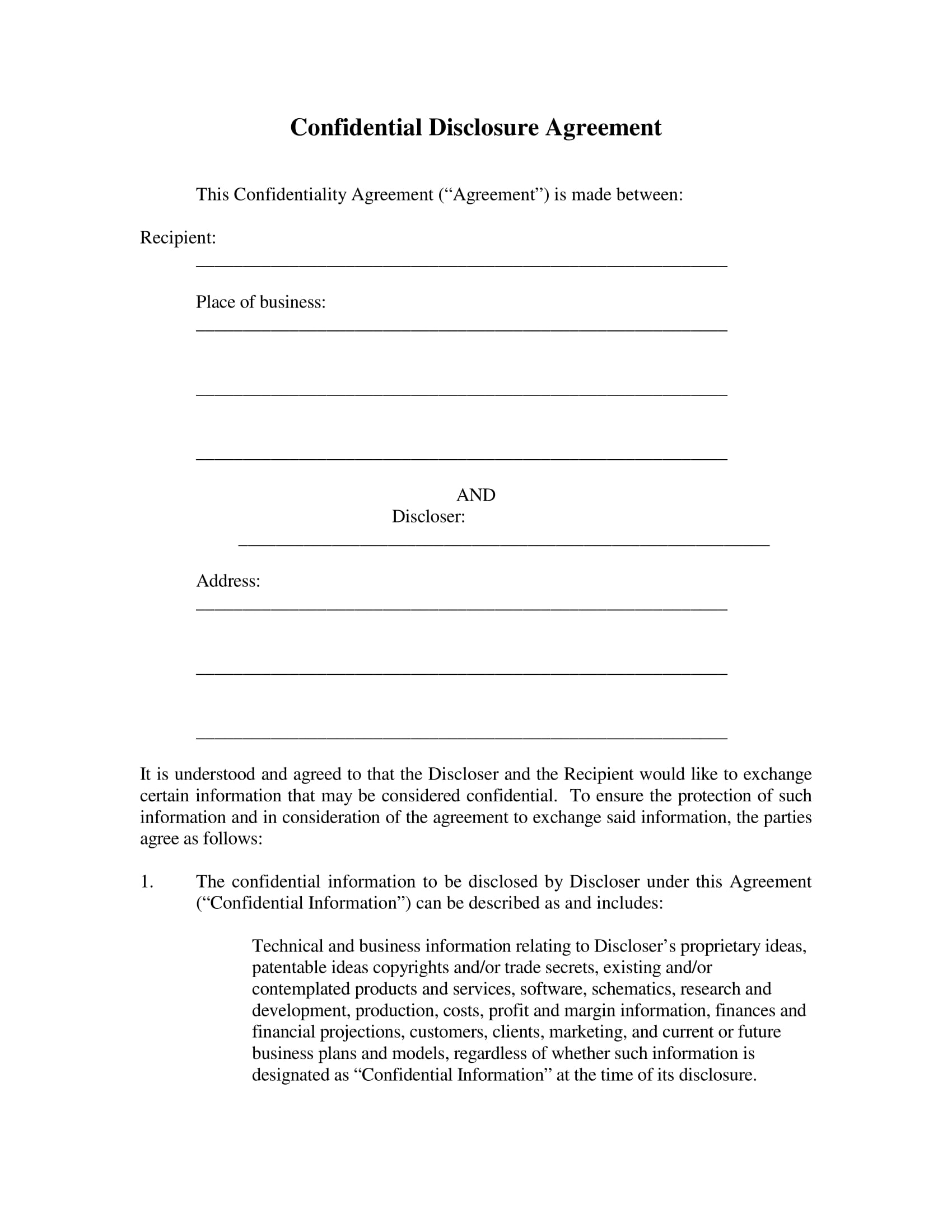 confidential disclosure agreement example 1