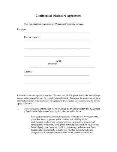 confidential disclosure agreement example