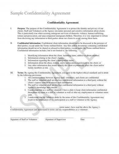 confidentiality agreement between staff volunteers and agency example