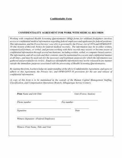 confidentiality agreement for medical records