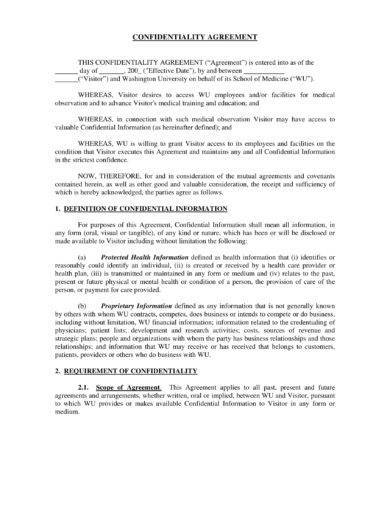 confidentiality agreement format example