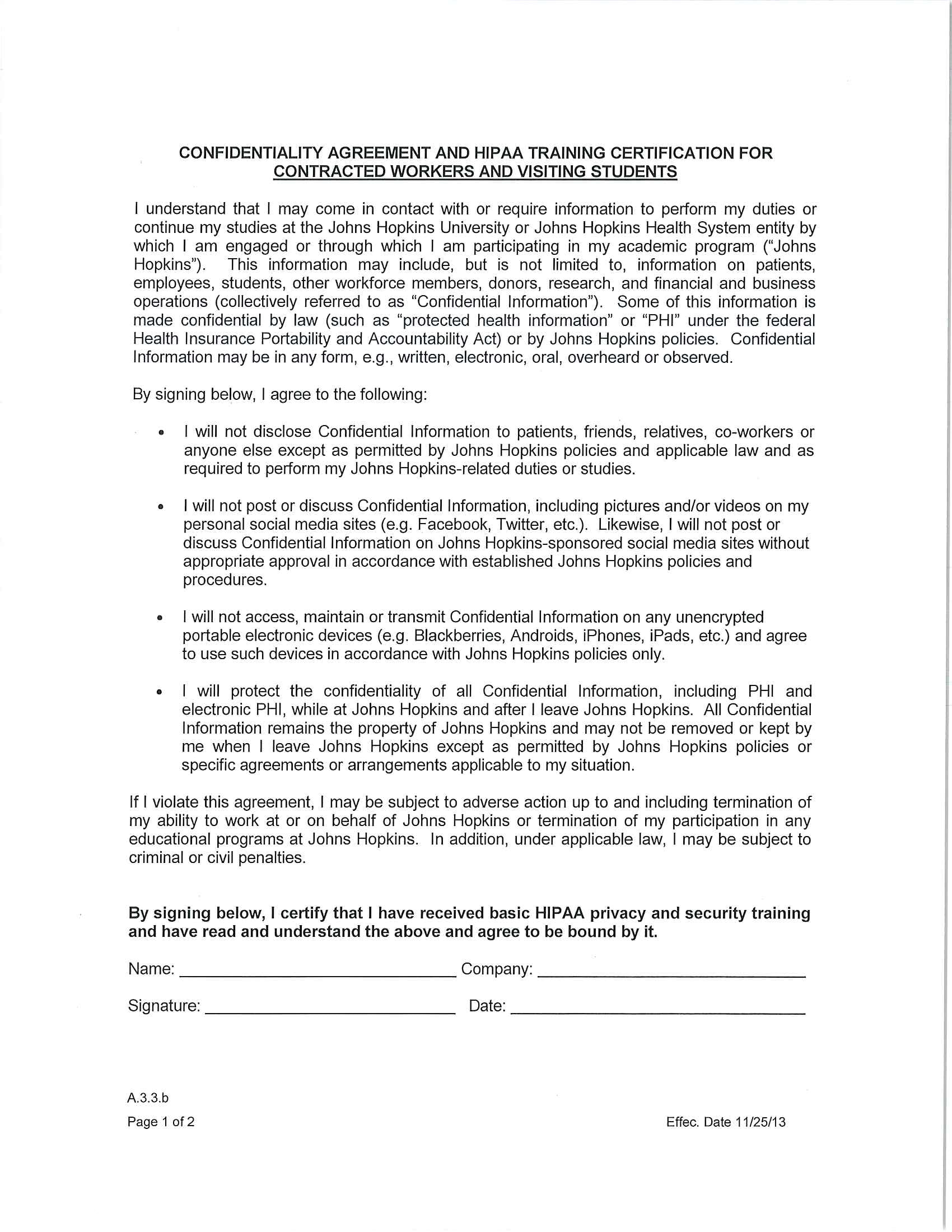 confidentiality agreement and hipaa training certification for contracter workers and visiting students example 1
