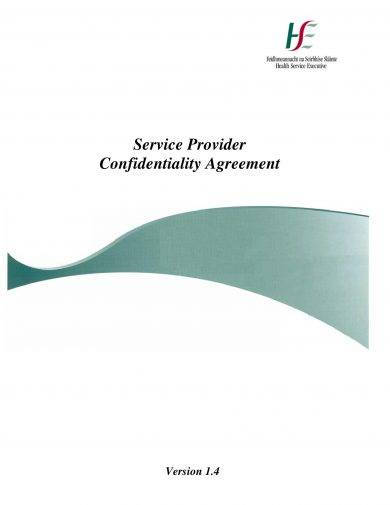 confidentiality agreement for staff of service provider example