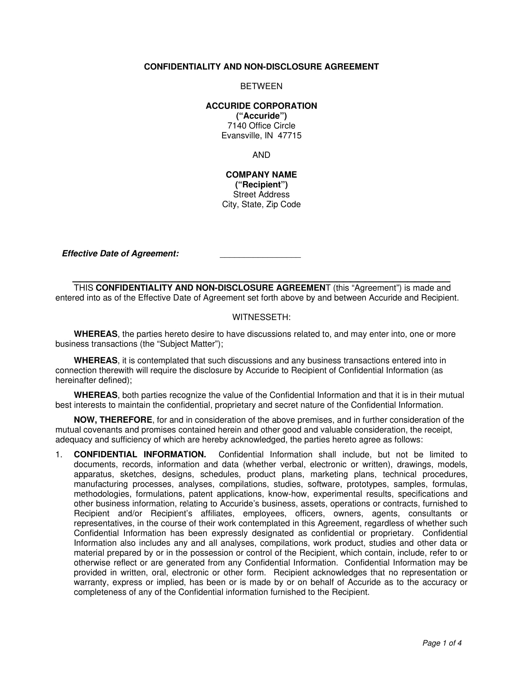 confidentiality and non disclosure agreement format example 1