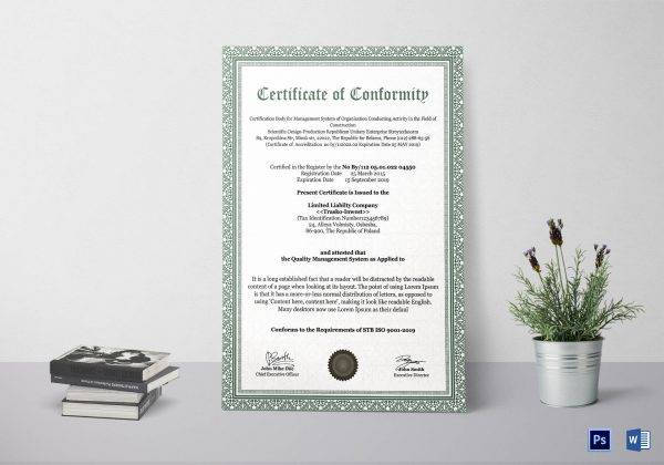 conformity certificate example1