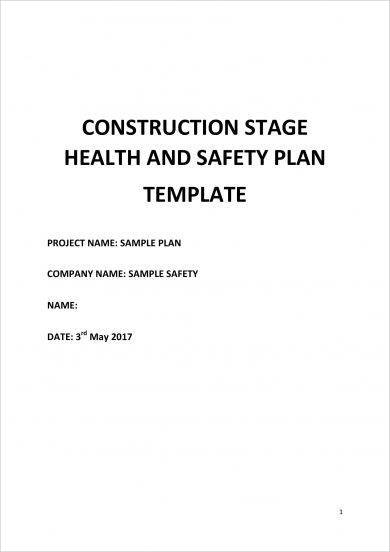 construction stage health and safety action plan template example