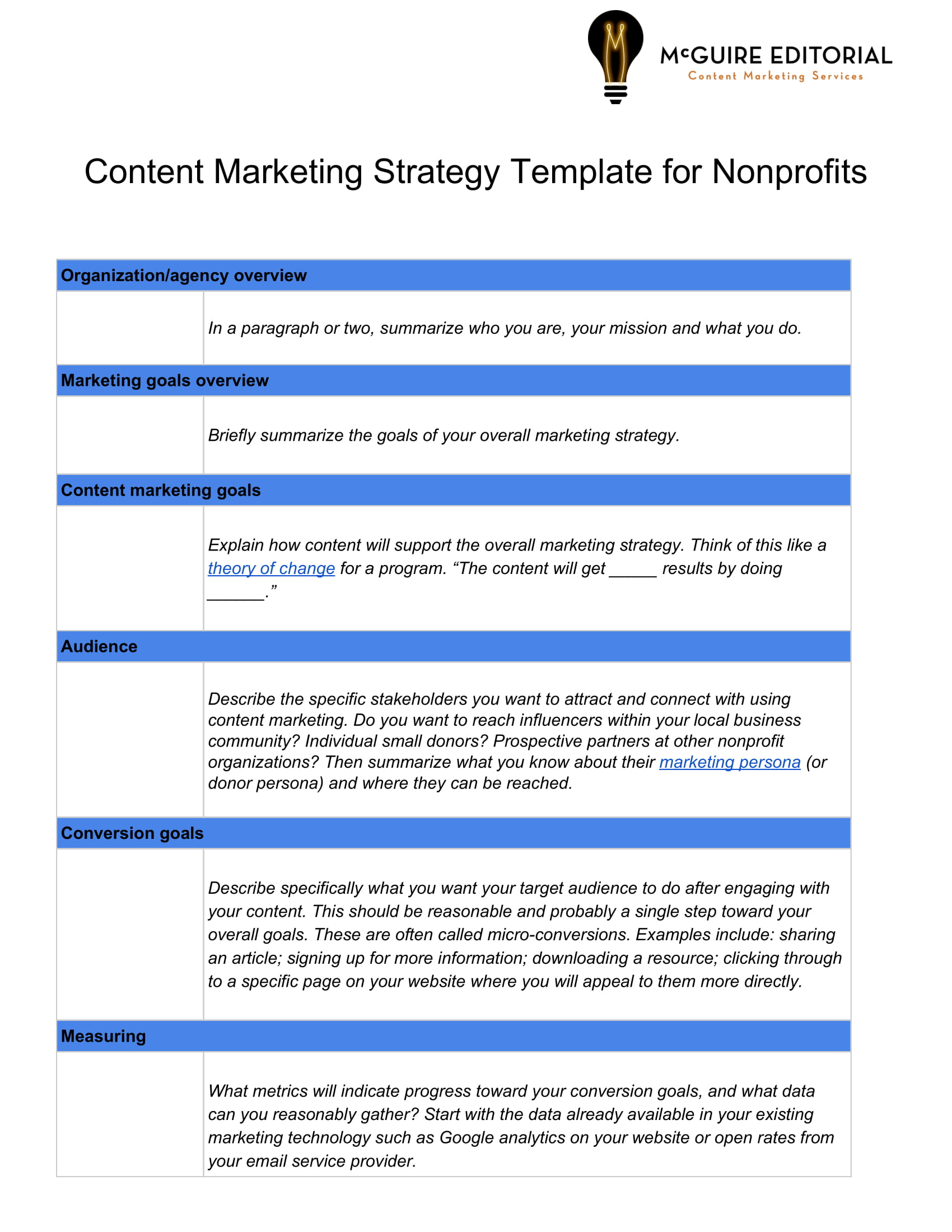content marketing strategy template for nonprofits example