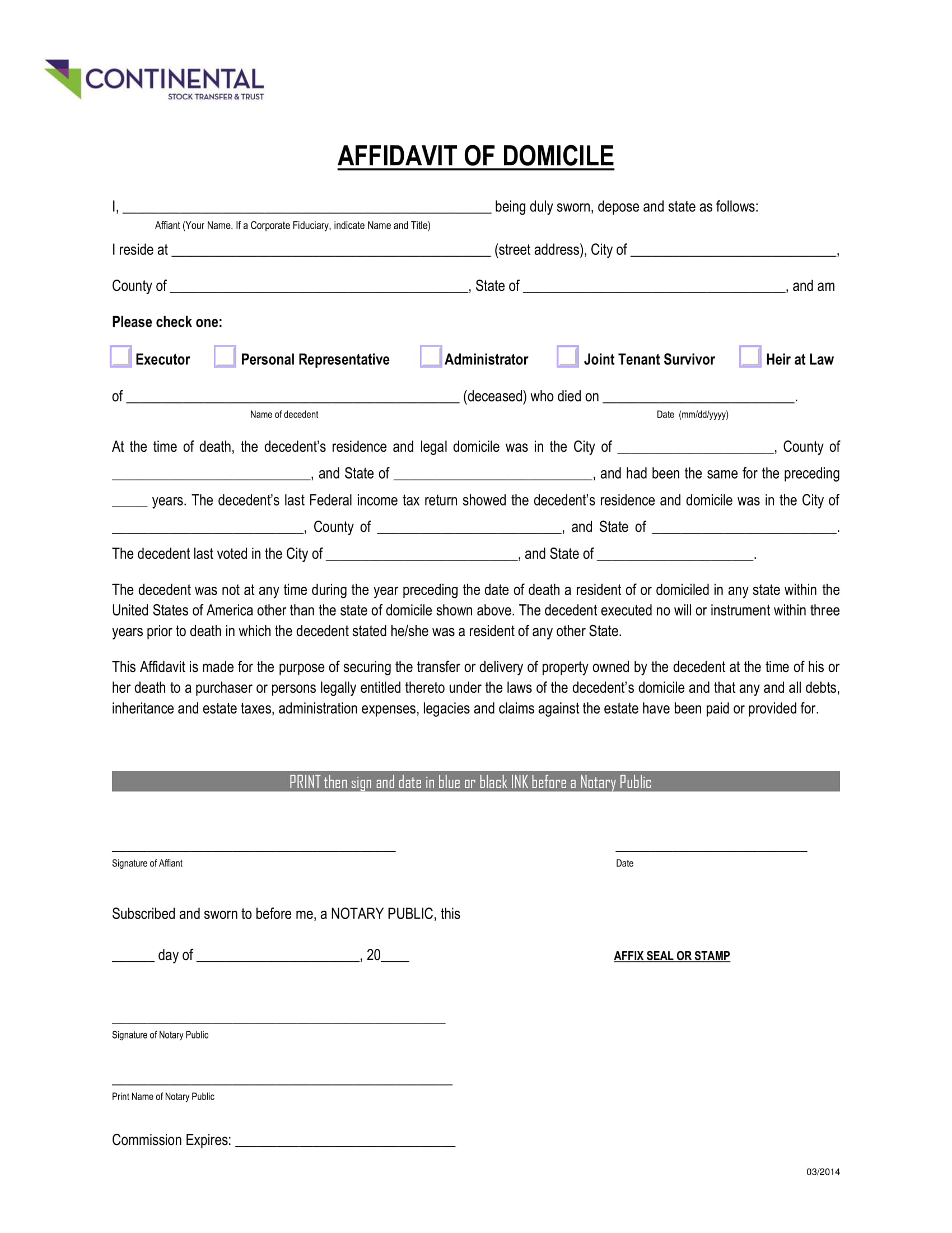 continental affidavit of domicile example