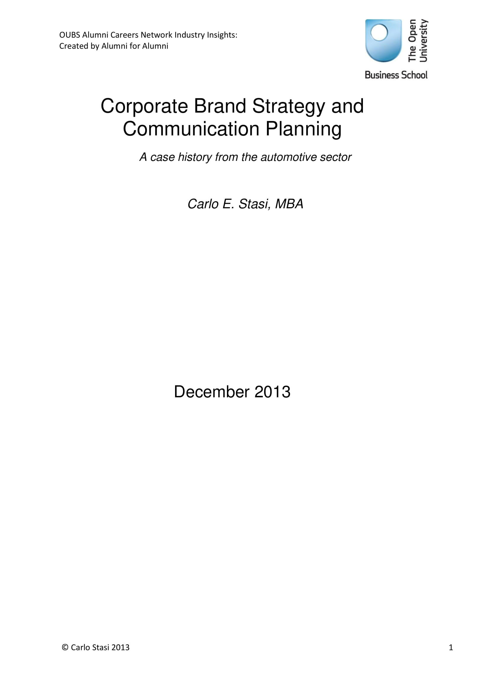 corporate brand strategy and communication planning example
